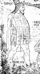 An image of King Syphax, c.1435 - 1445. One of the earliest known depictions of 'leg points' (ties for the suspension of leg harness) on a doublet. Much too late for the period of concern.