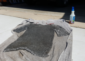 A mail shirt ready to get a spray coat of CLP