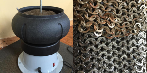 Vibratory tumbler on the left, before and after of a mail garment on the right. Photo courtesy of Historically Patterned Mail.
